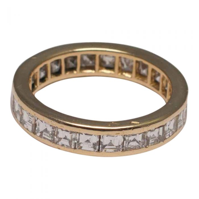 O.J.Perrin Square Cut Diamond Gold Eternity Ring