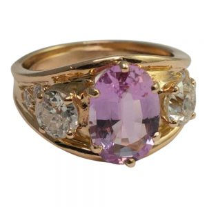 Pink Topaz and Diamond 3 Stone Ring