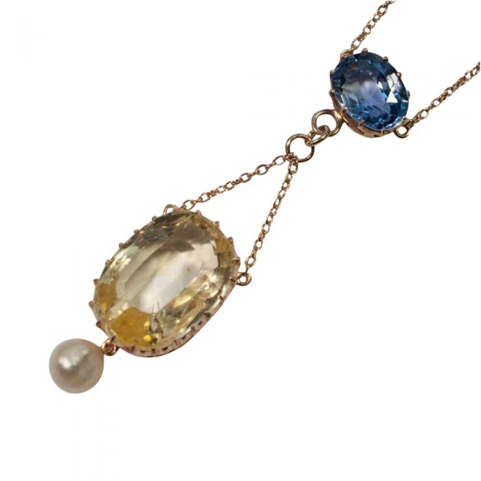 Edwardian Natural Sapphire and Pearl Pendant