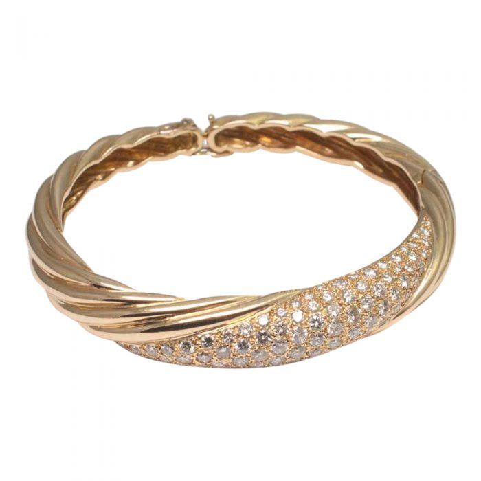 Diamond and 18ct Gold French Bangle