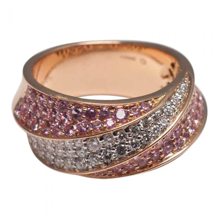 Pink Sapphire Diamond 18ct Gold Band Eternity Ring