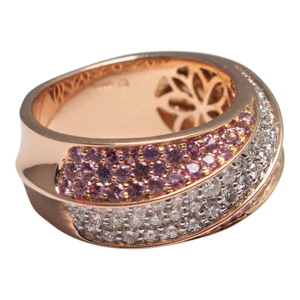 Pink Sapphire And Diamond Band Ring Sold Plaza Jewellery
