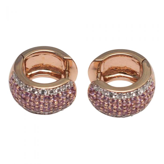 Pink Sapphire and Diamond Hooped Earrings