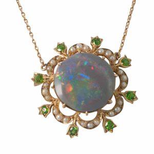 Edwardian Black Opal, Demantoid Garnet and Pearl Pendant