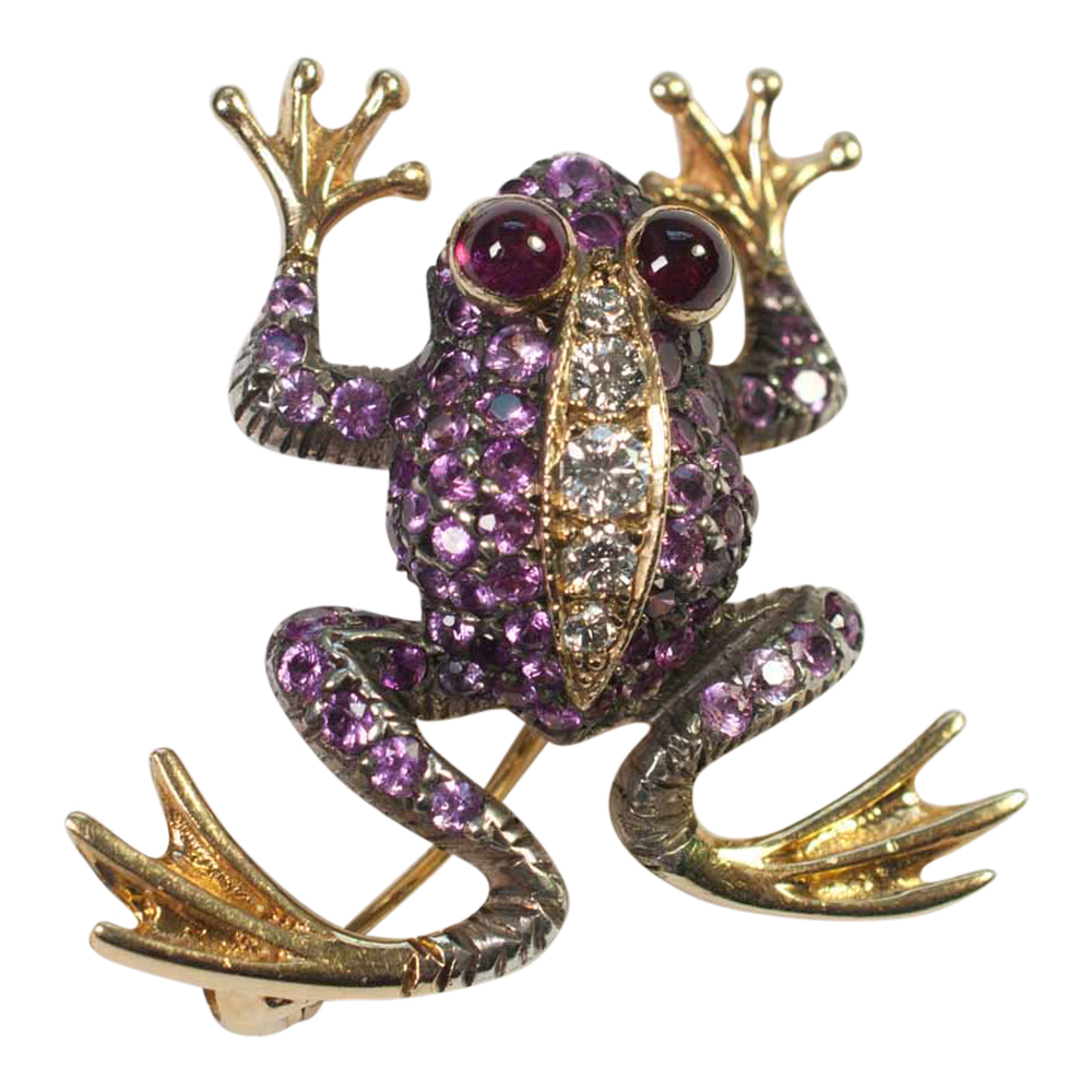 Pink Sapphire Gold Frog Pendant/Brooch