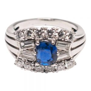 Sapphire Diamond Gold Baguette Engagement Ring Mid Century