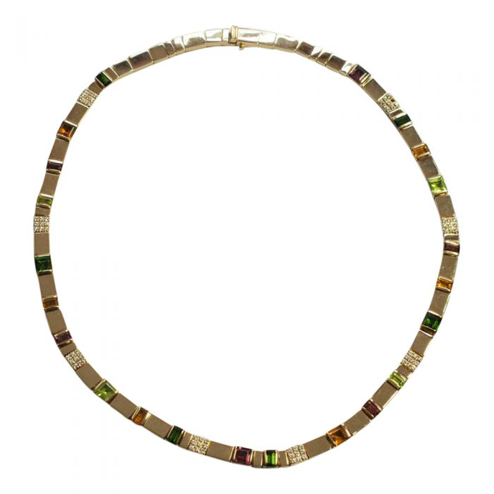 Asprey Gold Diamond and Multi Gemstone Necklace
