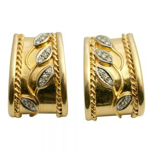 Floral Diamond 18ct Gold Earrings Clip and Post