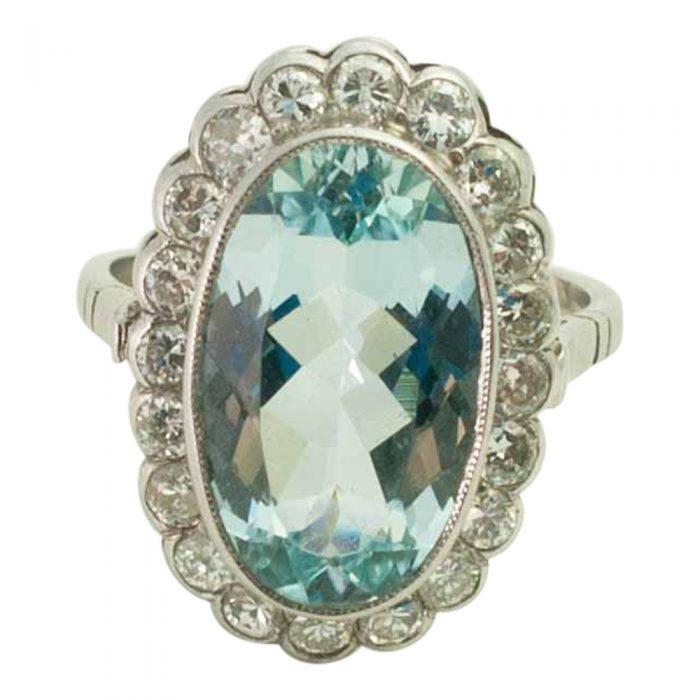 Large Vintage Oval Aquamarine and Diamond Ring