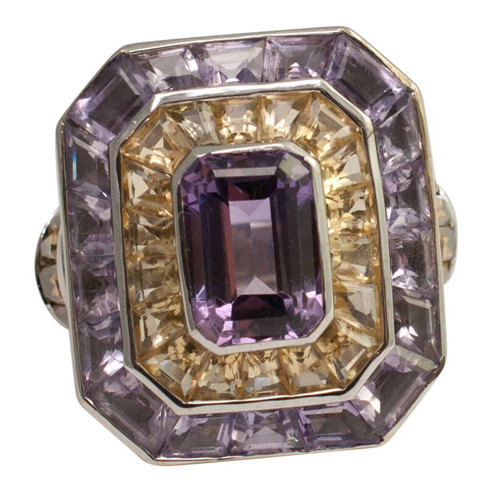 Theo Fennell Amethyst Citrine and Gold Ring