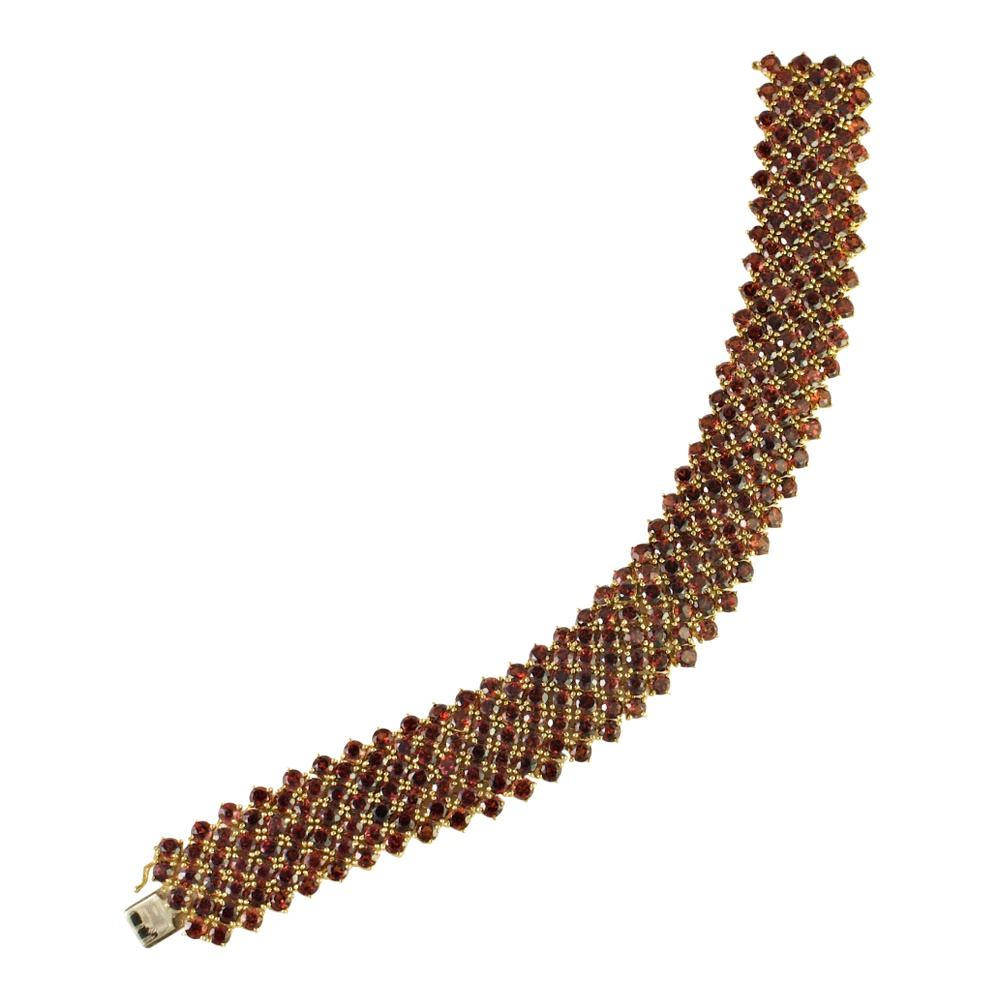 Spessartite Garnet and 18ct Gold Bracelet