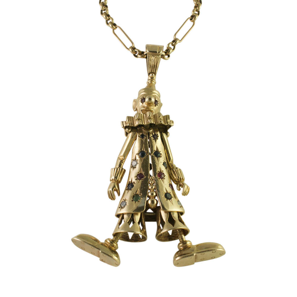 Gold and Gemset Pierrot Pendant