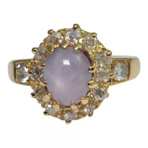 Edwardian Lavender Star Sapphire and Diamond Ring