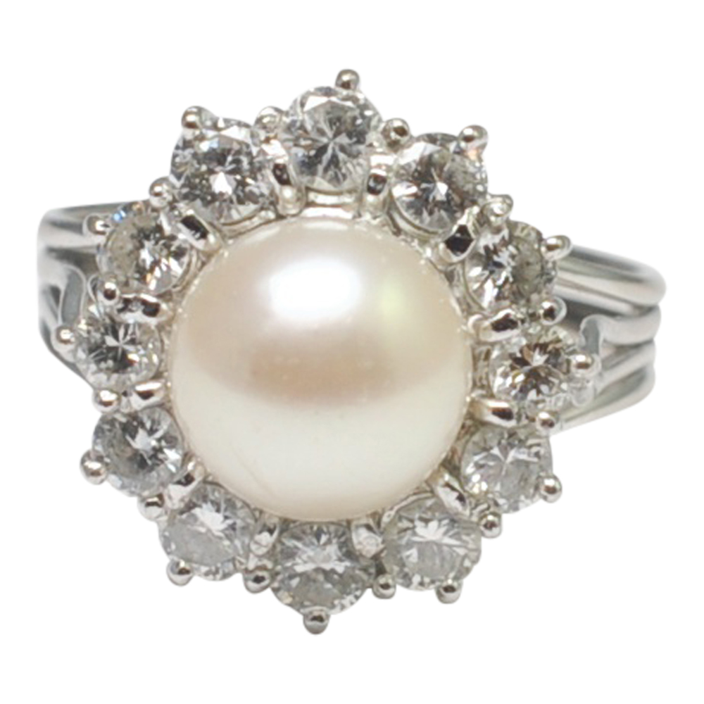 Vintage Diamond and Pearl Cluster Ring