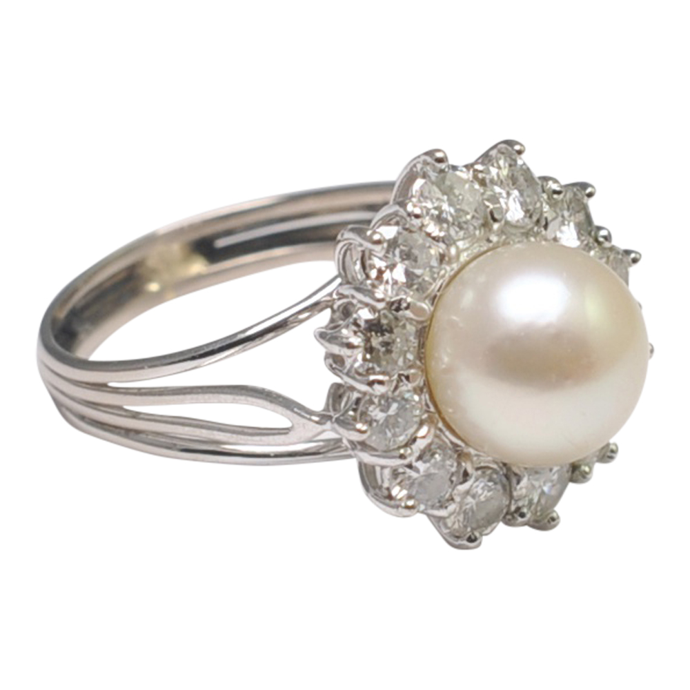 Vintage Diamond And Pearl Cluster Ring Plaza Jewellery