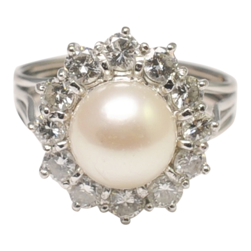 pearl home and halo bezel collection rings ring with double diamond real duchess engagement product