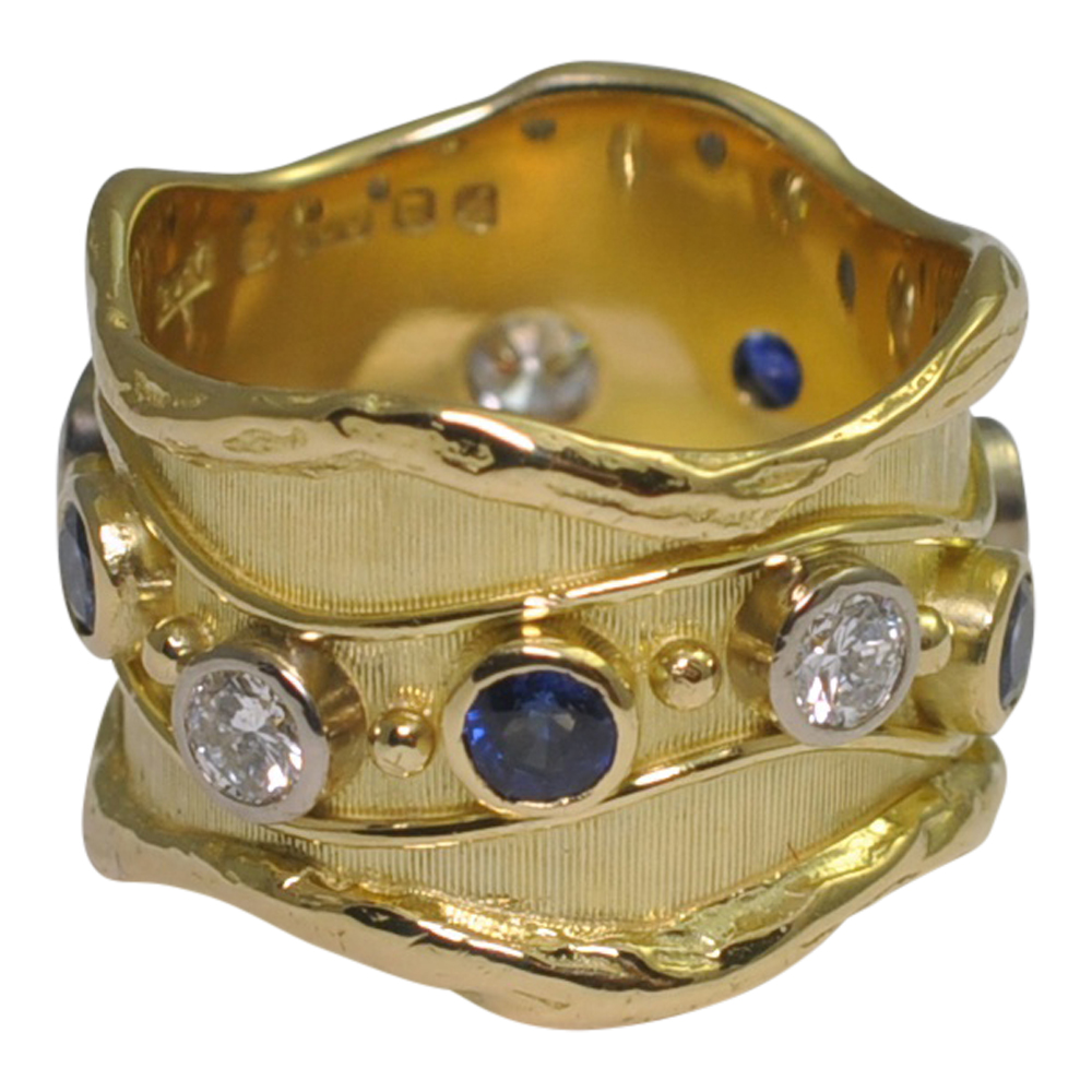 De Vroomen Sapphire and Diamond Wavy Band Gold Ring