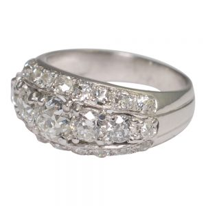 W.A. Bolin 1930s Platinum and Diamond Band Ring
