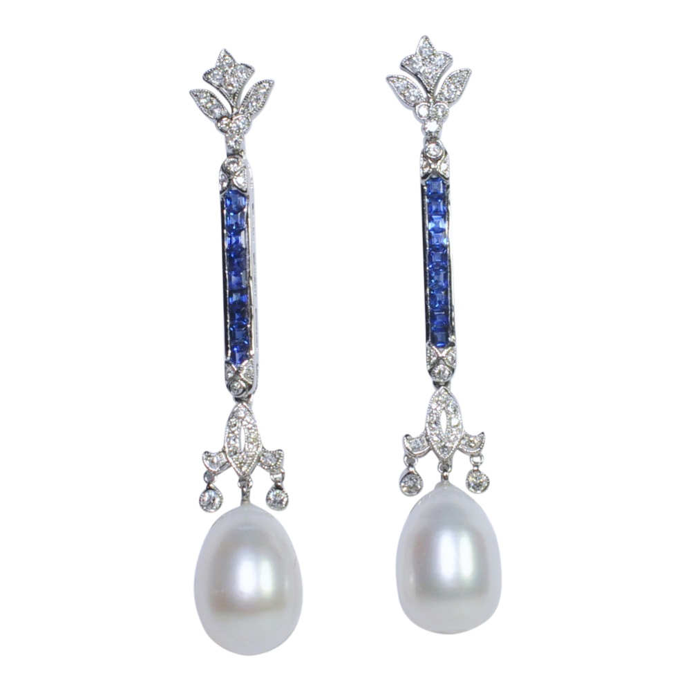 Sapphire Diamond and Pearl Pendant Earrings