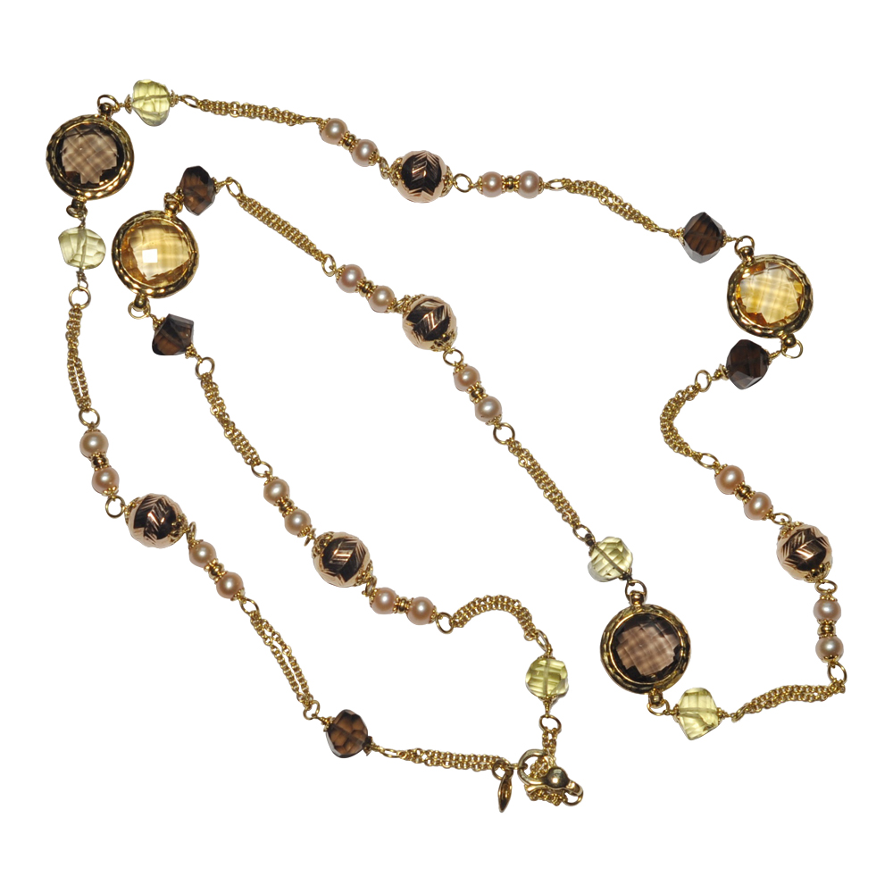 Cenzi Claudio 18ct Gold Long Chain Necklace with Gemstones and Pearls
