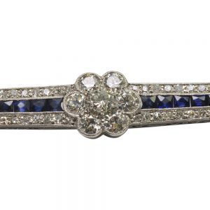 1930s Diamond and Sapphire Bar Brooch