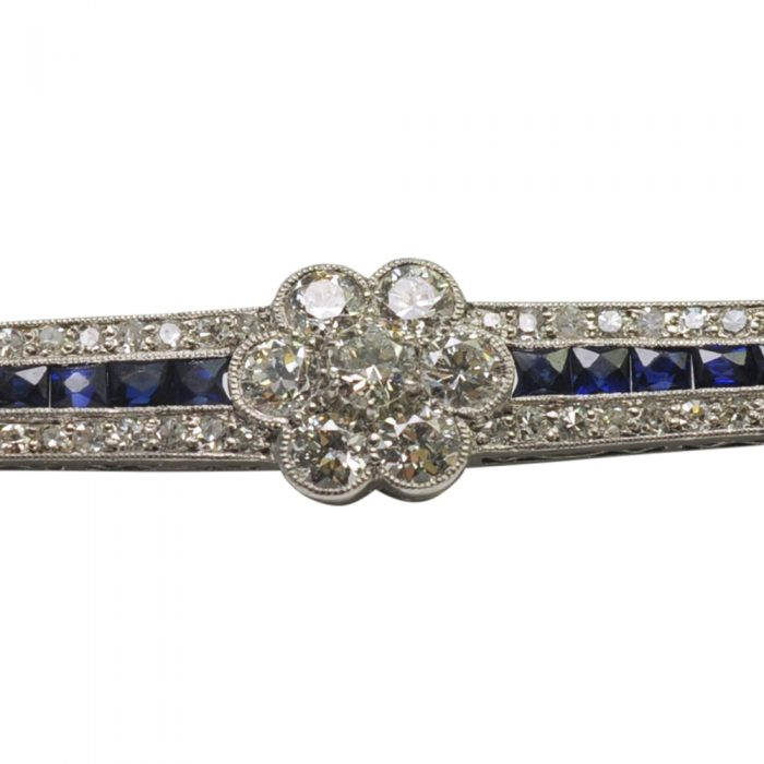 1930s Diamond and Sapphire Bar Brooch