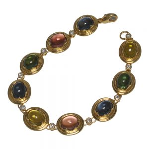 French Cabochon Tourmaline, Diamond and 18ct Gold Bracelet