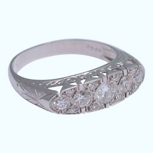 French Diamond Platinum Five Stone Ring