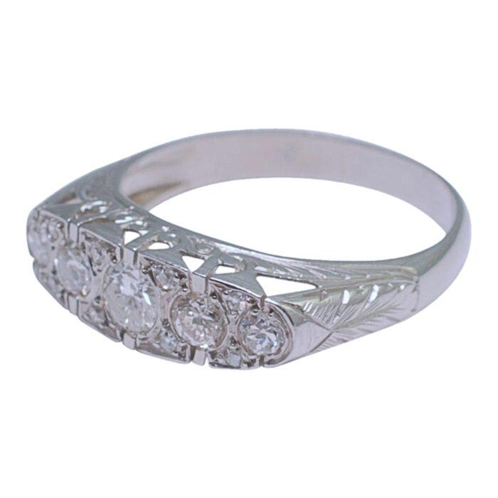 French Diamond Platinum Five Stone Ring