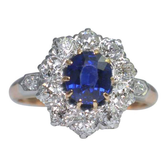 Edwardian No Heat Sapphire and Diamond Cluster Ring