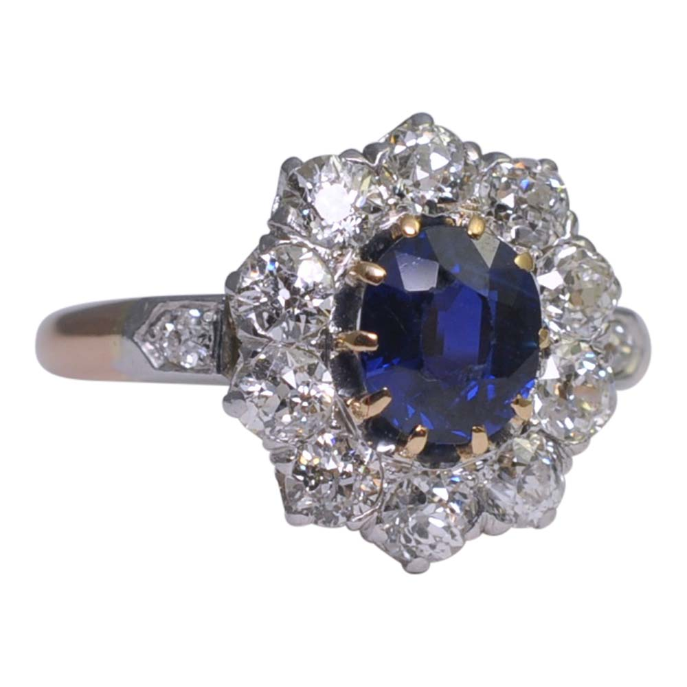 corn ring central and cluster diamond flower kozminsky a classic consisting oval sapphire of