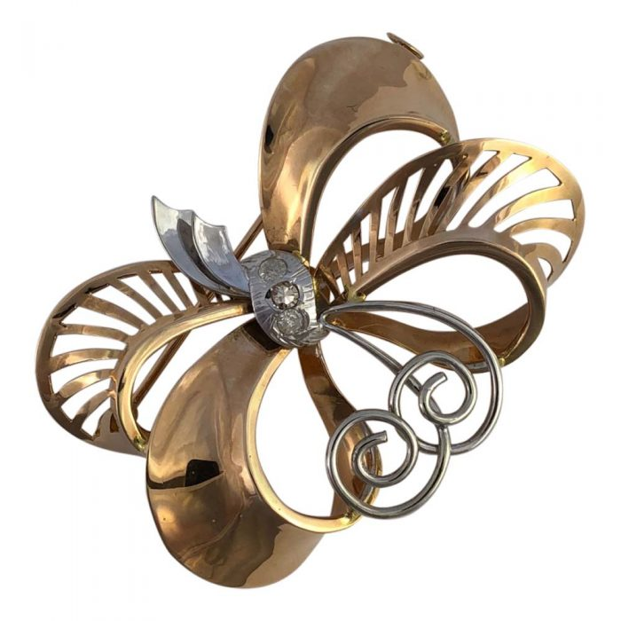 Retro 18ct Gold and Diamond Ribbons Brooch