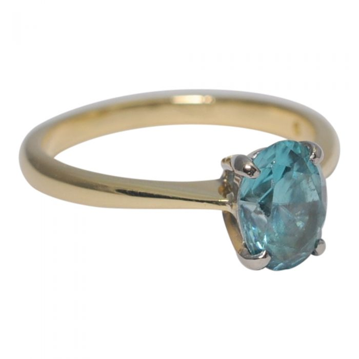 Solitaire Blue Zircon Ring