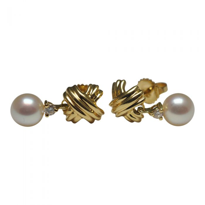 Tiffany & Co Gold Crosses, Diamond and Pearl Earrings