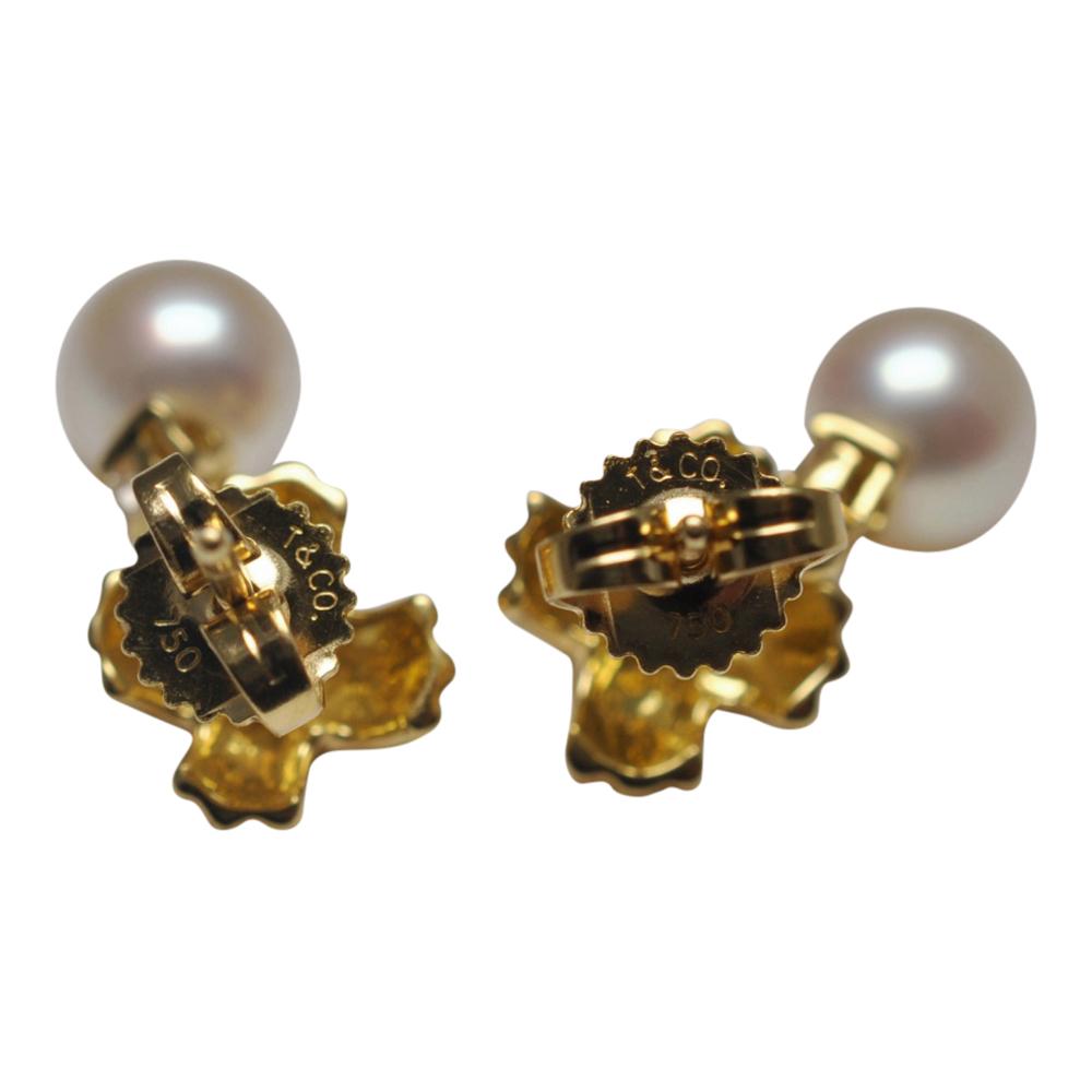 Tiffany & Co Gold Crosses, Diamond and Pearl Earrings