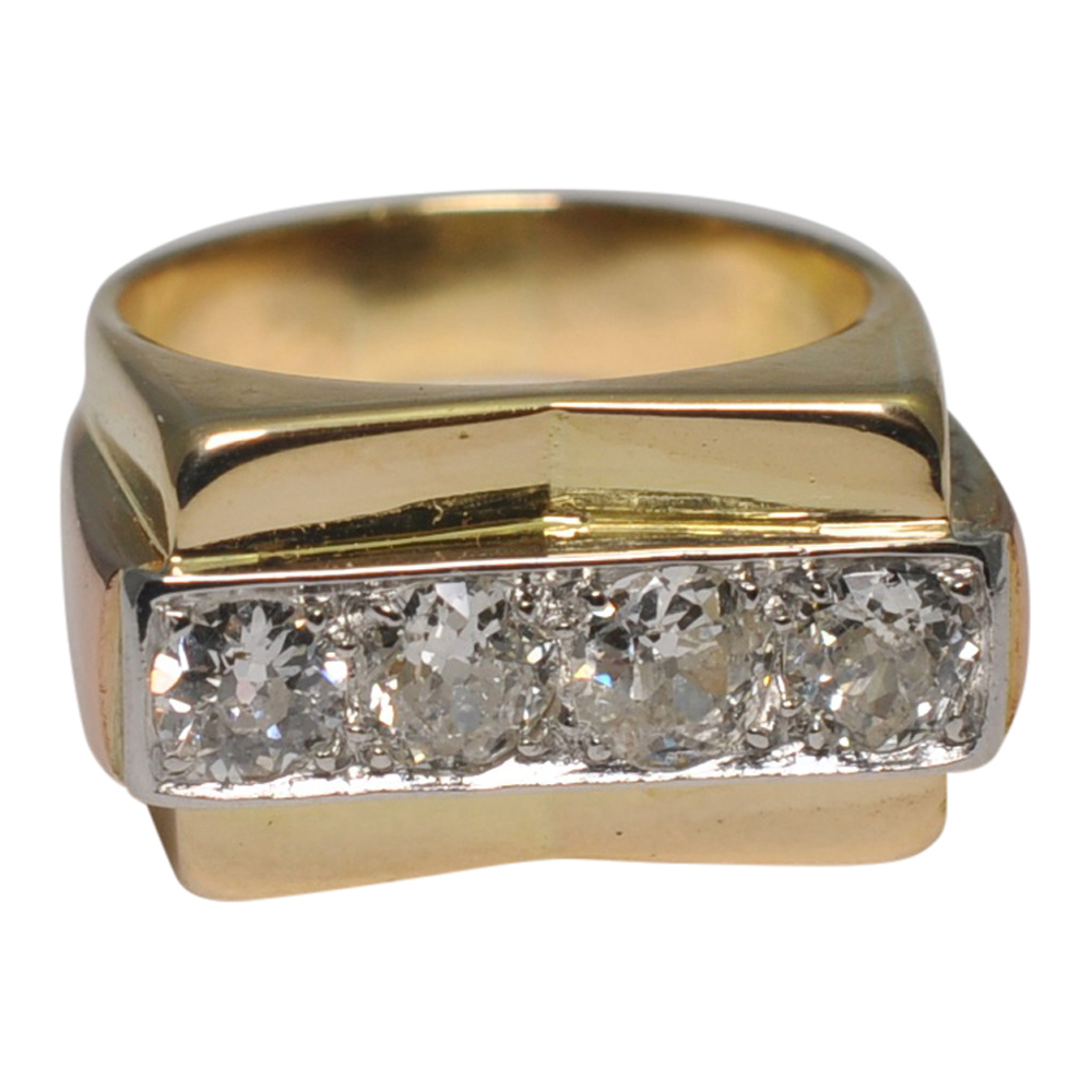 French Retro 1940s Diamond Ring