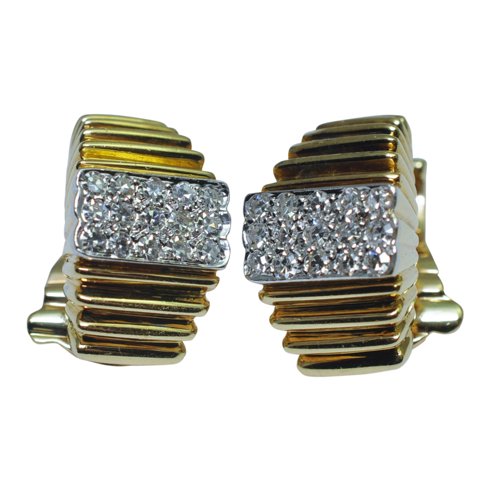 Vourakis Gold and Diamond Clip-on Earrings