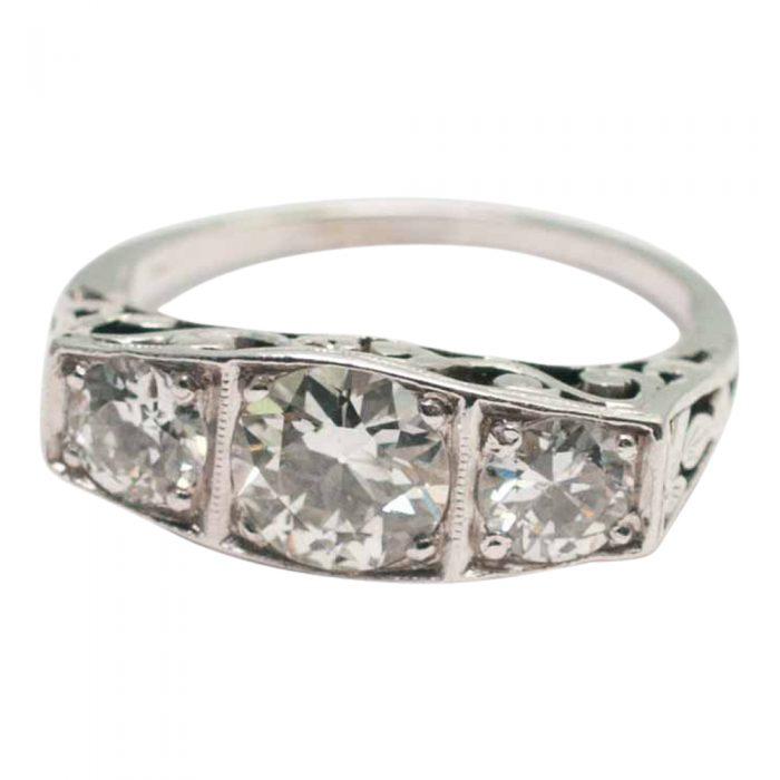 Art Deco Diamond and Platinum Trilogy Ring