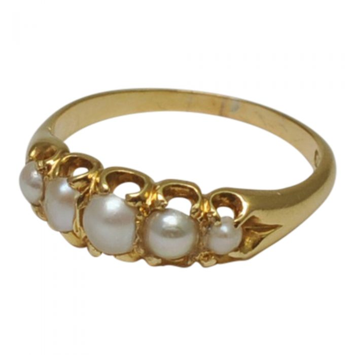 Antique Victorian 5 Stone Pearl Ring