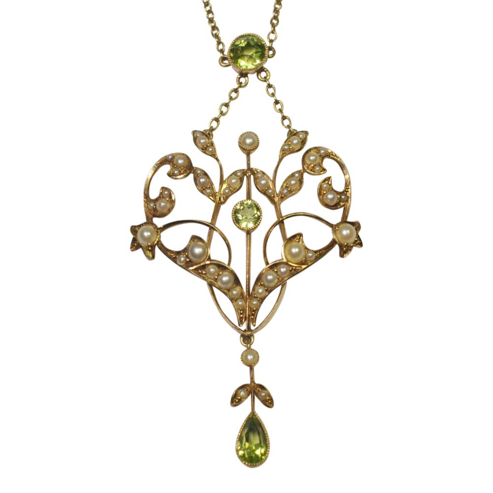 Edwardian Peridot, Pearl and 15ct Gold Pendant