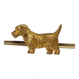 Vintage 9ct Gold Terrier Brooch