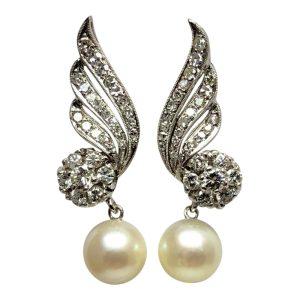 Diamond Cultured Pearl Gold Earrings