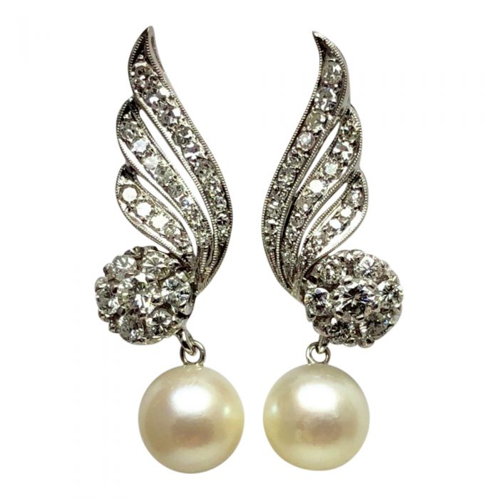 Diamond Cultured Pearl Gold Earrings