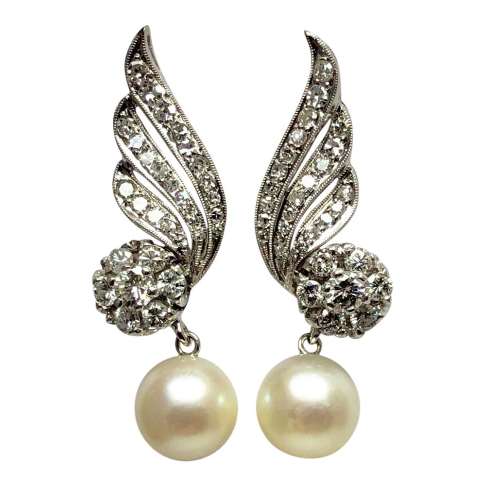 Diamond Cultured Pearl Gold Earrings - Plaza Jewellery