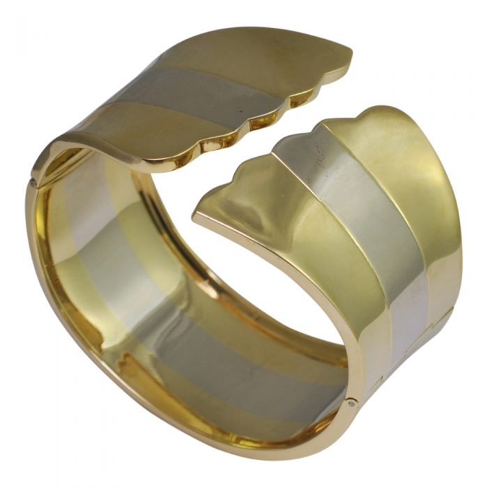 Bi Colour Gold Cuff Bangle