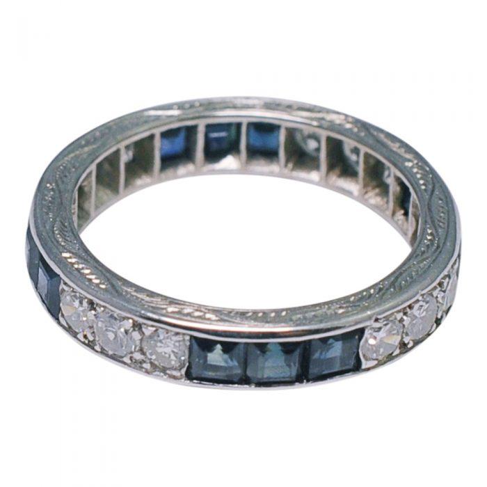 Sapphire Diamond 18ct Gold 1930s Eternity Ring