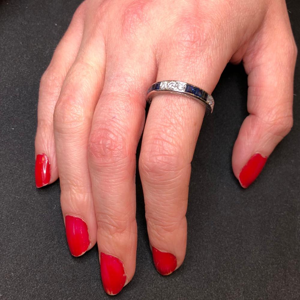 Sapphire Diamond 18ct Gold 1930s Eternity Ring - Plaza Jewellery