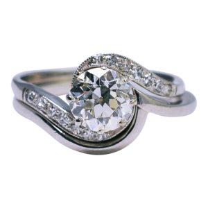 1920s Antique Diamond Platinum Engagement Ring