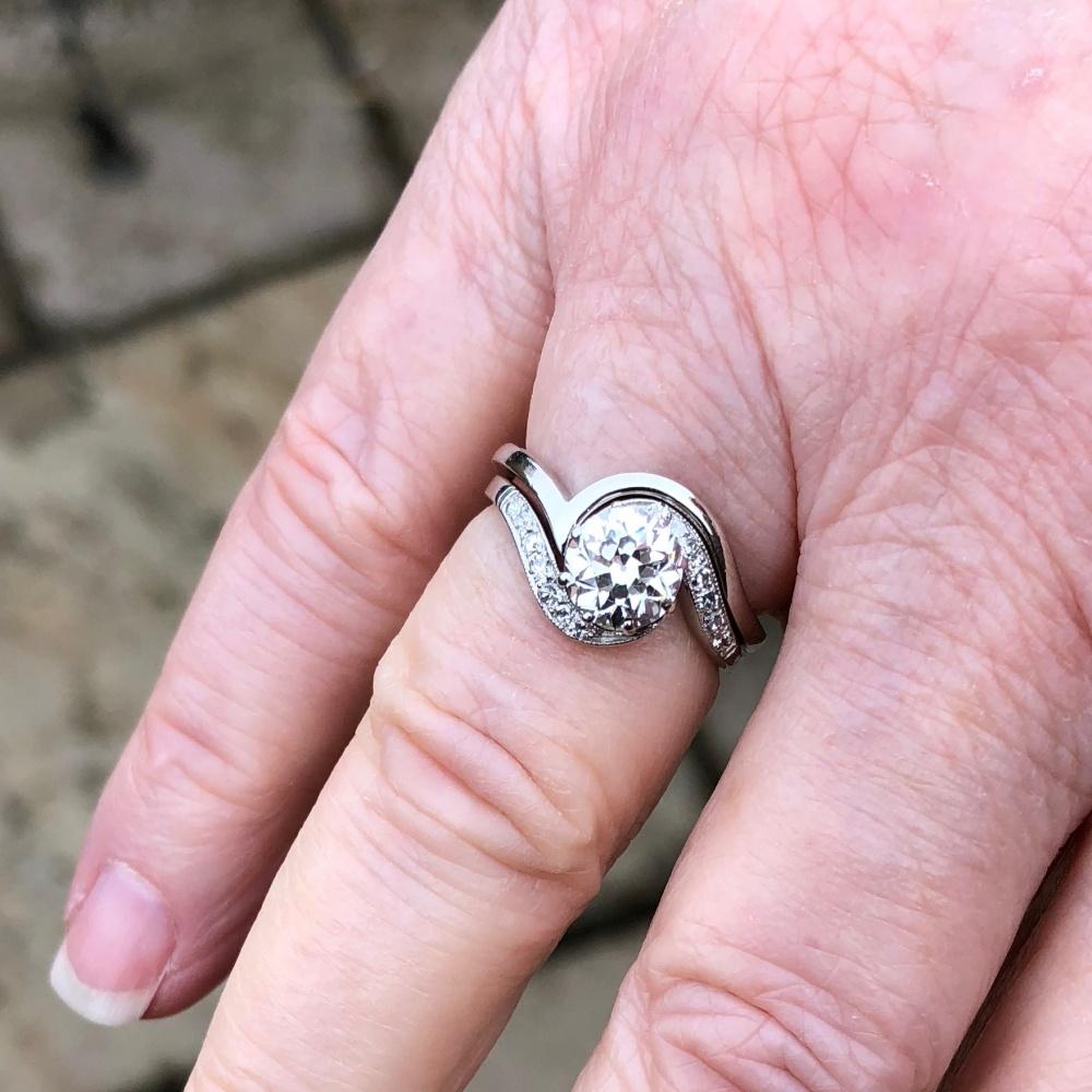 1920s Antique Diamond Platinum Engagement Ring - Plaza Jewellery