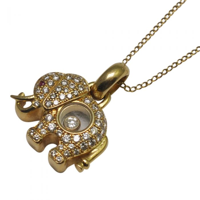 Chopard 18ct Happy Diamond Elephant Pendant Necklace